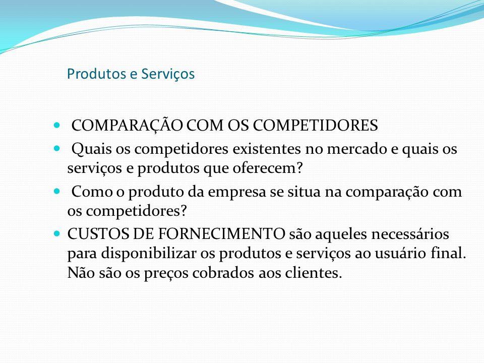 COMPARAÇÃO COM OS COMPETIDORES Quais os competidores existentes no mercado e quais os serviços e produtos que oferecem? Como o produto da empresa se s