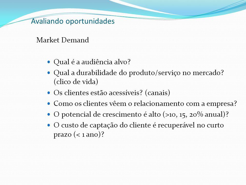 Avaliando oportunidades Market Demand Qual é a audiência alvo? Qual a durabilidade do produto/serviço no mercado? (clico de vida) Os clientes estão ac