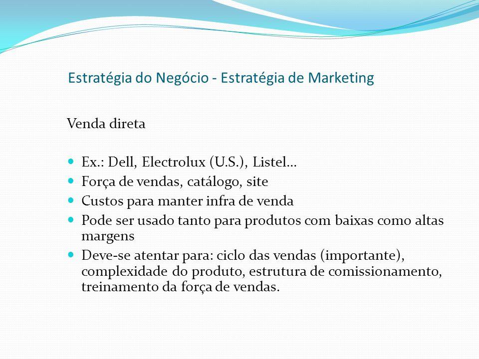 Venda direta Ex.: Dell, Electrolux (U.S.), Listel... Força de vendas, catálogo, site Custos para manter infra de venda Pode ser usado tanto para produ
