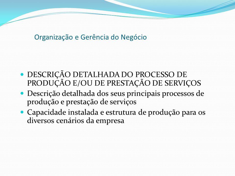 DESCRIÇÃO DETALHADA DO PROCESSO DE PRODUÇÃO E/OU DE PRESTAÇÃO DE SERVIÇOS Descrição detalhada dos seus principais processos de produção e prestação de