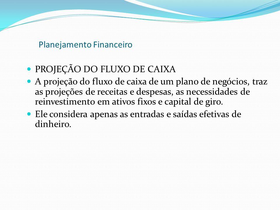 PROJEÇÃO DO FLUXO DE CAIXA A projeção do fluxo de caixa de um plano de negócios, traz as projeções de receitas e despesas, as necessidades de reinvest