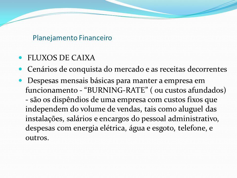 FLUXOS DE CAIXA Cenários de conquista do mercado e as receitas decorrentes Despesas mensais básicas para manter a empresa em funcionamento - BURNING-R