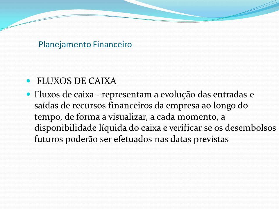 FLUXOS DE CAIXA Fluxos de caixa - representam a evolução das entradas e saídas de recursos financeiros da empresa ao longo do tempo, de forma a visual