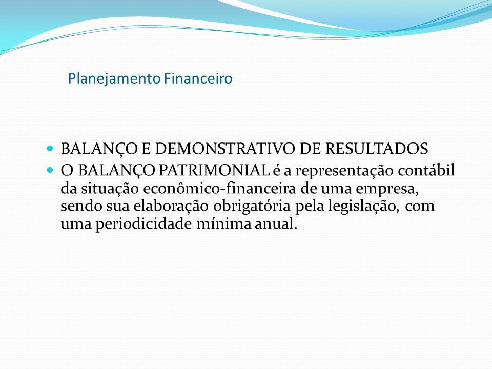 BALANÇO E DEMONSTRATIVO DE RESULTADOS O BALANÇO PATRIMONIAL é a representação contábil da situação econômico-financeira de uma empresa, sendo sua elab