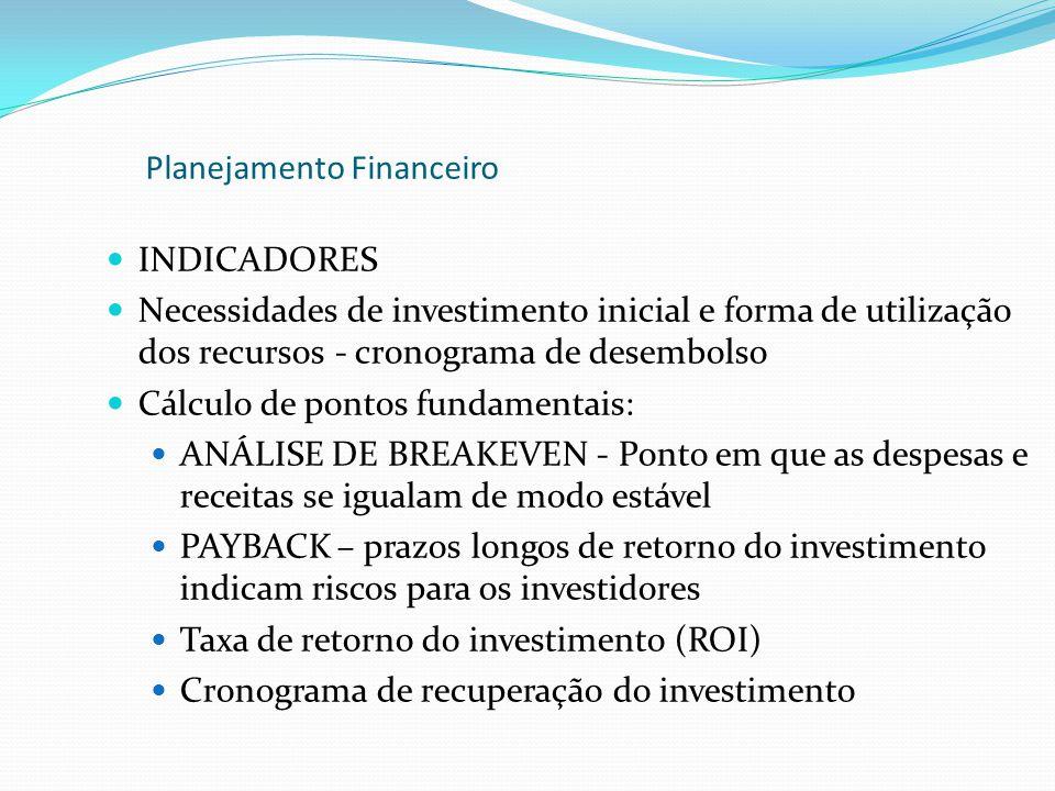 INDICADORES Necessidades de investimento inicial e forma de utilização dos recursos - cronograma de desembolso Cálculo de pontos fundamentais: ANÁLISE