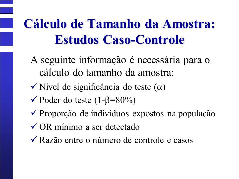 Cálculo de Tamanho da Amostra: Estudos Caso-Controle A seguinte informação é necessária para o cálculo do tamanho da amostra: Nível de significância d