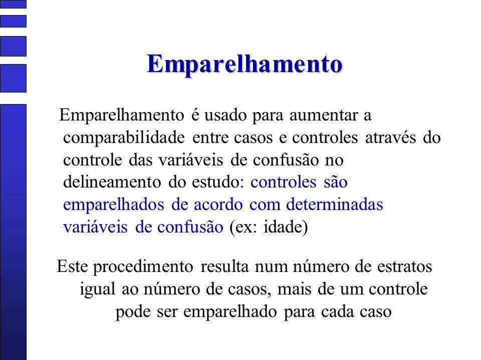 Emparelhamento Emparelhamento é usado para aumentar a comparabilidade entre casos e controles através do controle das variáveis de confusão no delinea