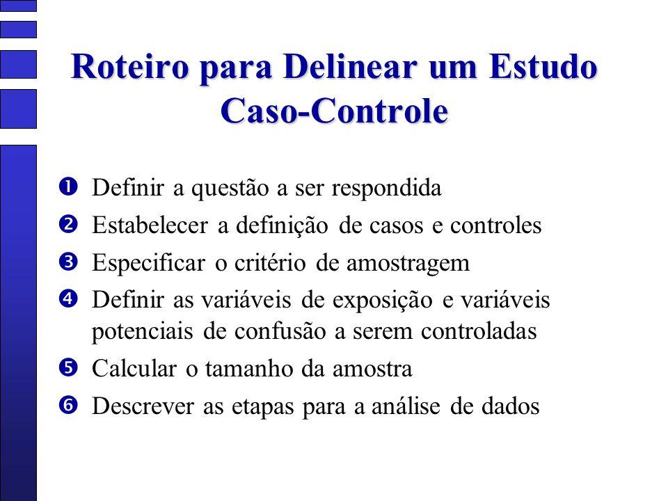 Roteiro para Delinear um Estudo Caso-Controle Definir a questão a ser respondida Estabelecer a definição de casos e controles Especificar o critério d