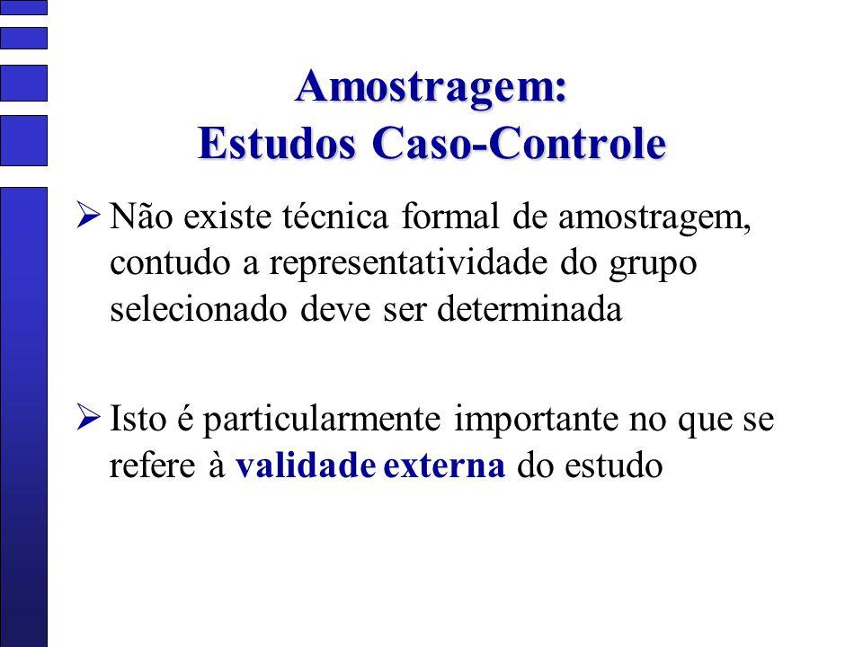 Amostragem: Estudos Caso-Controle Não existe técnica formal de amostragem, contudo a representatividade do grupo selecionado deve ser determinada Isto