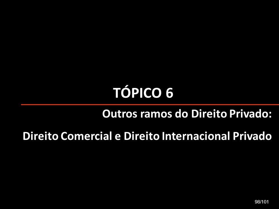 TÓPICO 6 98/101 Outros ramos do Direito Privado: Direito Comercial e Direito Internacional Privado