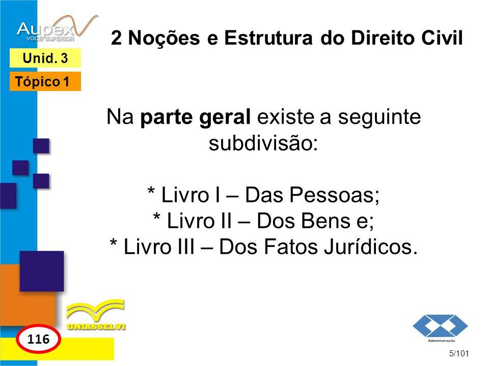 2 Noções e Estrutura do Direito Civil Na parte geral existe a seguinte subdivisão: * Livro I – Das Pessoas; * Livro II – Dos Bens e; * Livro III – Dos Fatos Jurídicos.