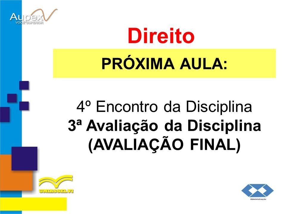 PRÓXIMA AULA: Direito 4º Encontro da Disciplina 3ª Avaliação da Disciplina (AVALIAÇÃO FINAL)
