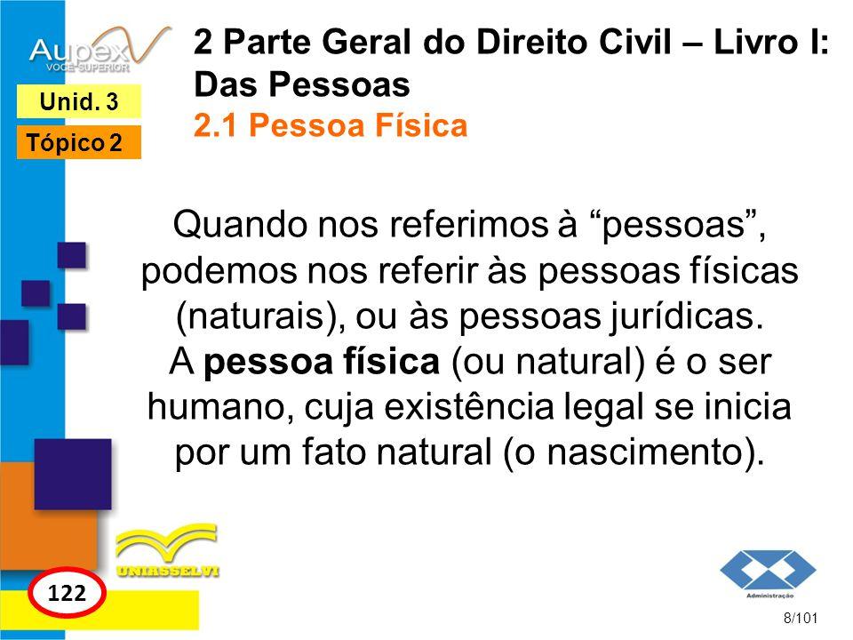 2 Parte Geral do Direito Civil – Livro I: Das Pessoas 2.1 Pessoa Física Quando nos referimos à pessoas, podemos nos referir às pessoas físicas (naturais), ou às pessoas jurídicas.