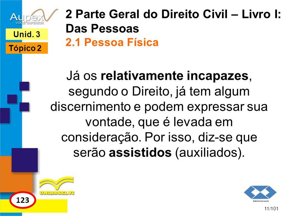 2 Parte Geral do Direito Civil – Livro I: Das Pessoas 2.1 Pessoa Física Já os relativamente incapazes, segundo o Direito, já tem algum discernimento e podem expressar sua vontade, que é levada em consideração.