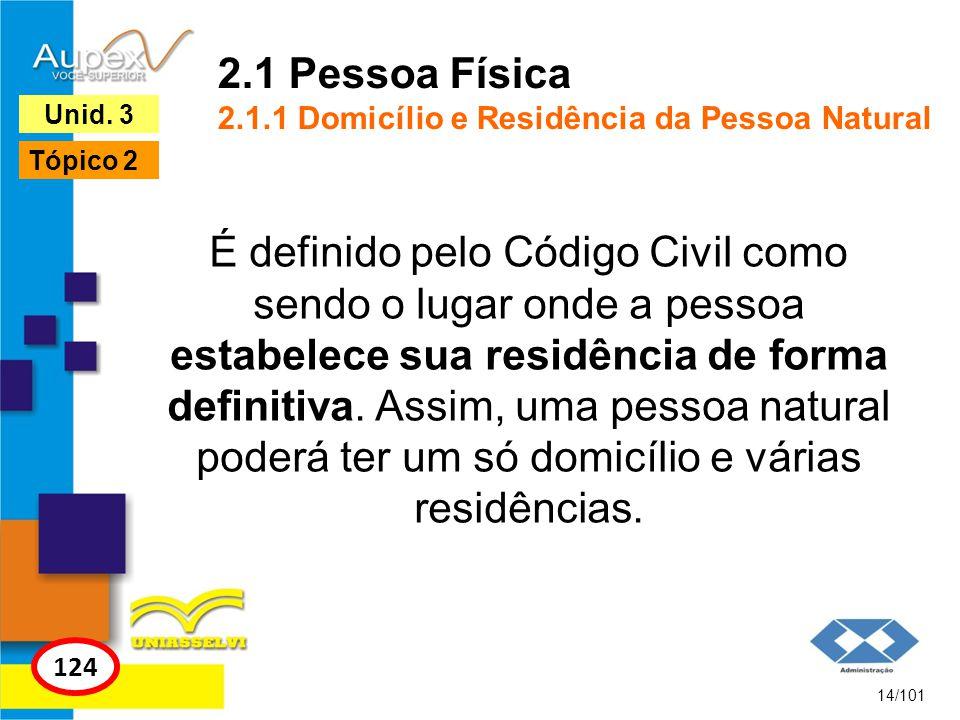 2.1 Pessoa Física 2.1.1 Domicílio e Residência da Pessoa Natural É definido pelo Código Civil como sendo o lugar onde a pessoa estabelece sua residênc
