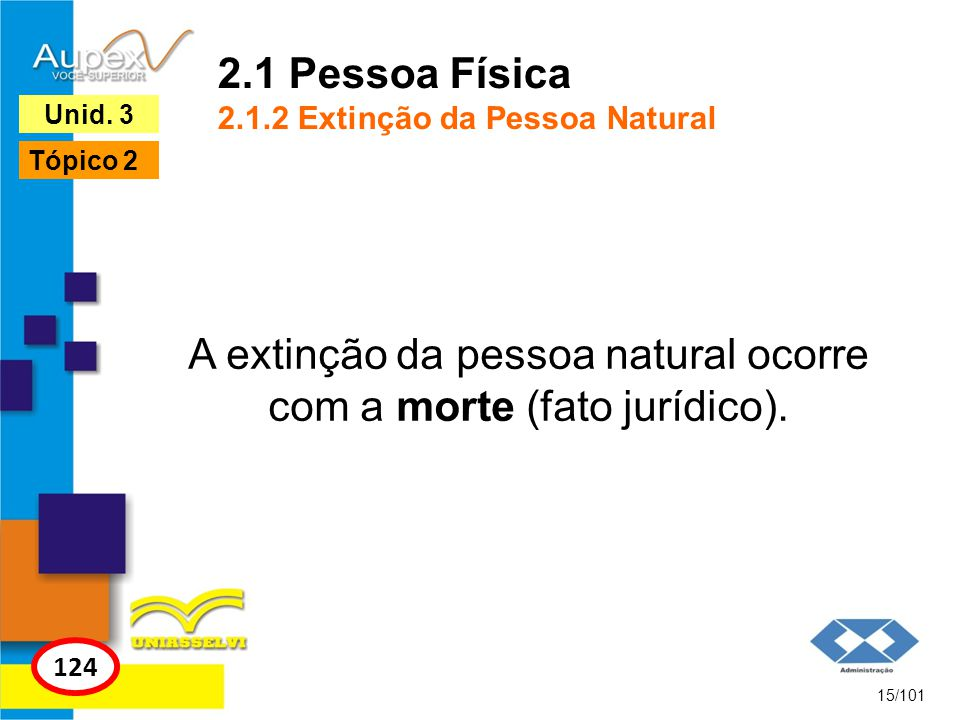 2.1 Pessoa Física 2.1.2 Extinção da Pessoa Natural A extinção da pessoa natural ocorre com a morte (fato jurídico). 15/101 124 Unid. 3 Tópico 2