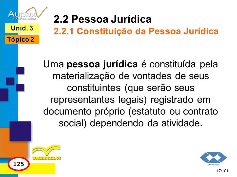 Uma pessoa jurídica é constituída pela materialização de vontades de seus constituintes (que serão seus representantes legais) registrado em documento próprio (estatuto ou contrato social) dependendo da atividade.