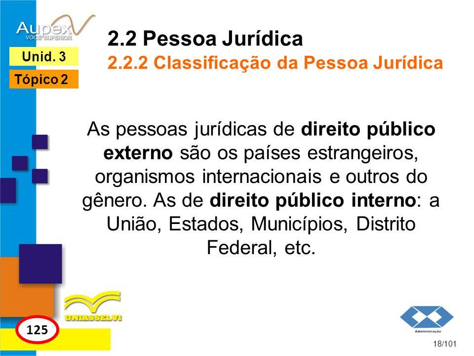 As pessoas jurídicas de direito público externo são os países estrangeiros, organismos internacionais e outros do gênero. As de direito público intern