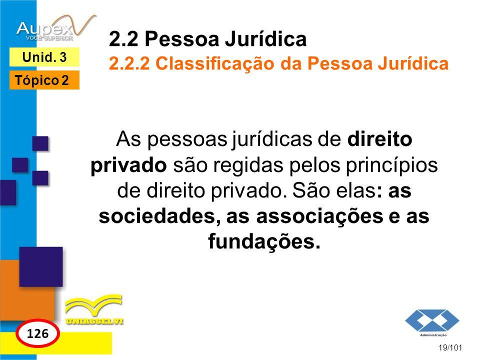 As pessoas jurídicas de direito privado são regidas pelos princípios de direito privado. São elas: as sociedades, as associações e as fundações. 19/10