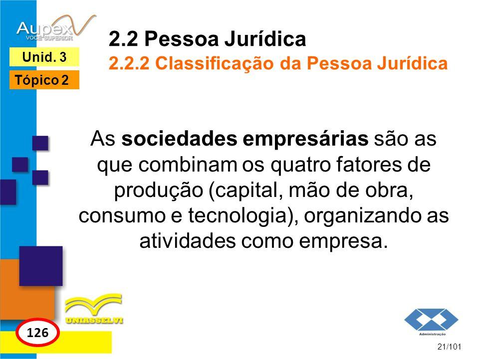 As sociedades empresárias são as que combinam os quatro fatores de produção (capital, mão de obra, consumo e tecnologia), organizando as atividades co