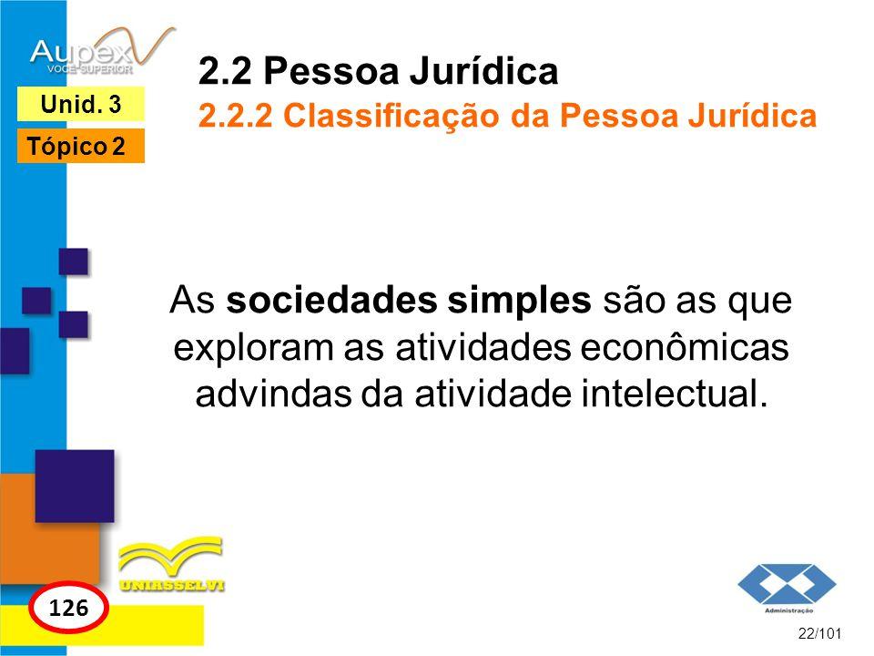 As sociedades simples são as que exploram as atividades econômicas advindas da atividade intelectual. 22/101 126 Unid. 3 Tópico 2 2.2 Pessoa Jurídica