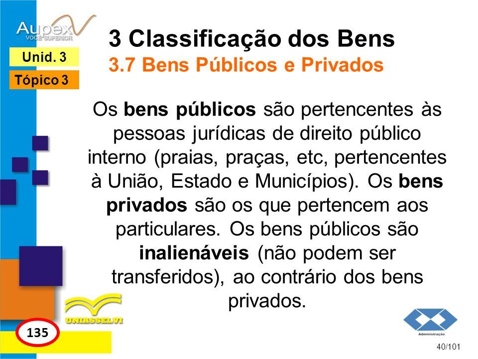 Os bens públicos são pertencentes às pessoas jurídicas de direito público interno (praias, praças, etc, pertencentes à União, Estado e Municípios). Os