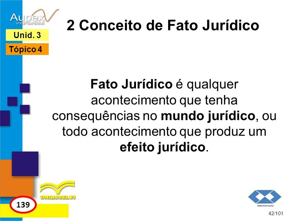 Fato Jurídico é qualquer acontecimento que tenha consequências no mundo jurídico, ou todo acontecimento que produz um efeito jurídico. 42/101 139 Unid