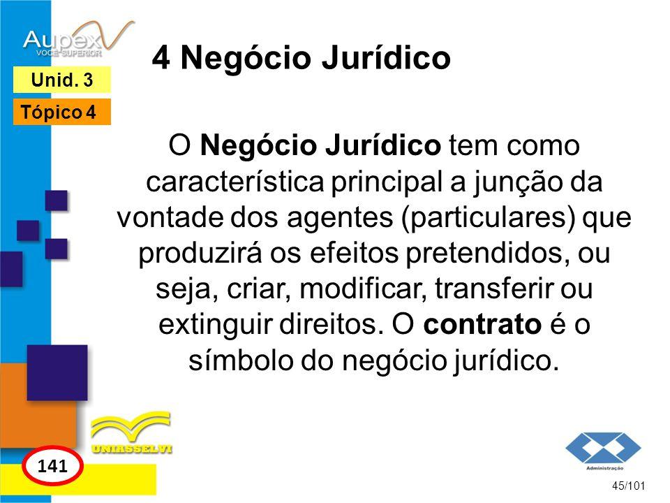 O Negócio Jurídico tem como característica principal a junção da vontade dos agentes (particulares) que produzirá os efeitos pretendidos, ou seja, criar, modificar, transferir ou extinguir direitos.