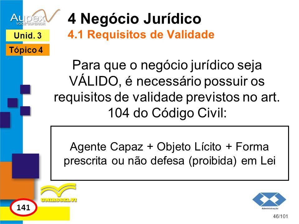 Para que o negócio jurídico seja VÁLIDO, é necessário possuir os requisitos de validade previstos no art. 104 do Código Civil: 46/101 141 Unid. 3 Tópi