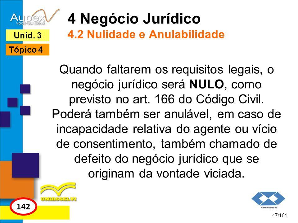 Quando faltarem os requisitos legais, o negócio jurídico será NULO, como previsto no art. 166 do Código Civil. Poderá também ser anulável, em caso de