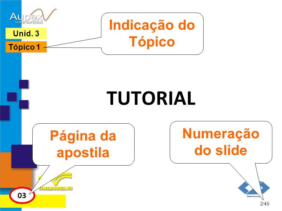 TUTORIAL 2/45 Unid. 3 03 Página da apostila Numeração do slide Tópico 1 Indicação do Tópico