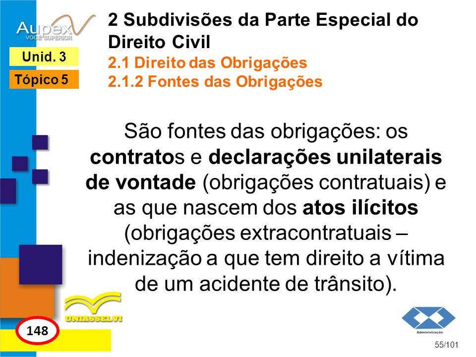 São fontes das obrigações: os contratos e declarações unilaterais de vontade (obrigações contratuais) e as que nascem dos atos ilícitos (obrigações ex