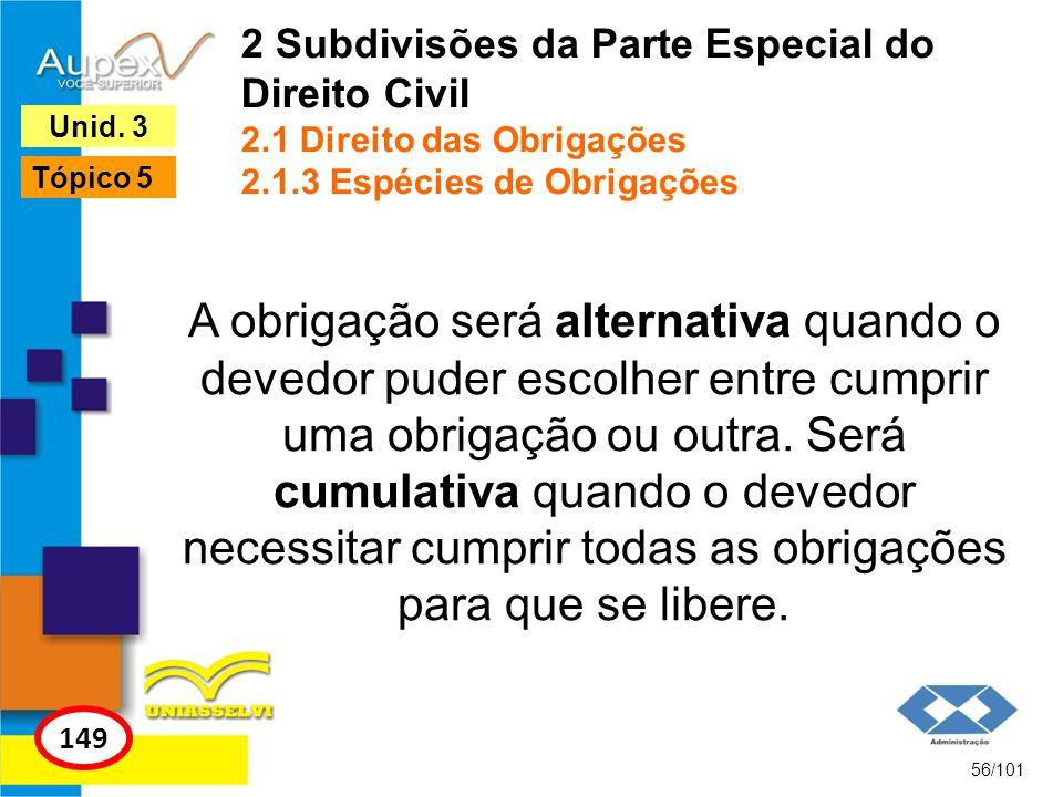 A obrigação será alternativa quando o devedor puder escolher entre cumprir uma obrigação ou outra.