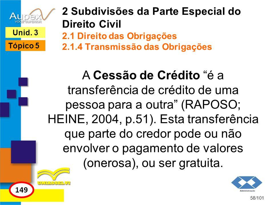 A Cessão de Crédito é a transferência de crédito de uma pessoa para a outra (RAPOSO; HEINE, 2004, p.51).