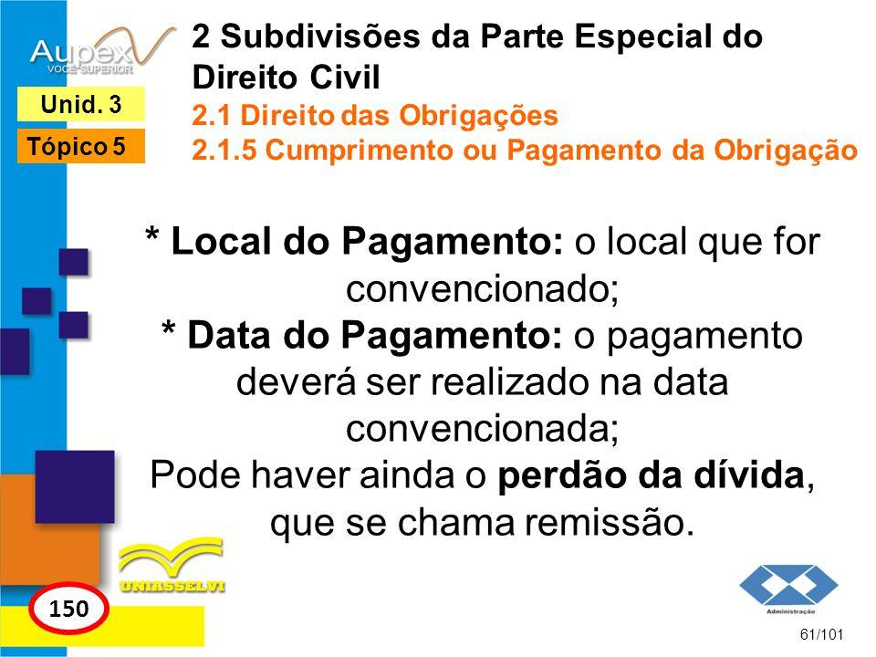 * Local do Pagamento: o local que for convencionado; * Data do Pagamento: o pagamento deverá ser realizado na data convencionada; Pode haver ainda o perdão da dívida, que se chama remissão.