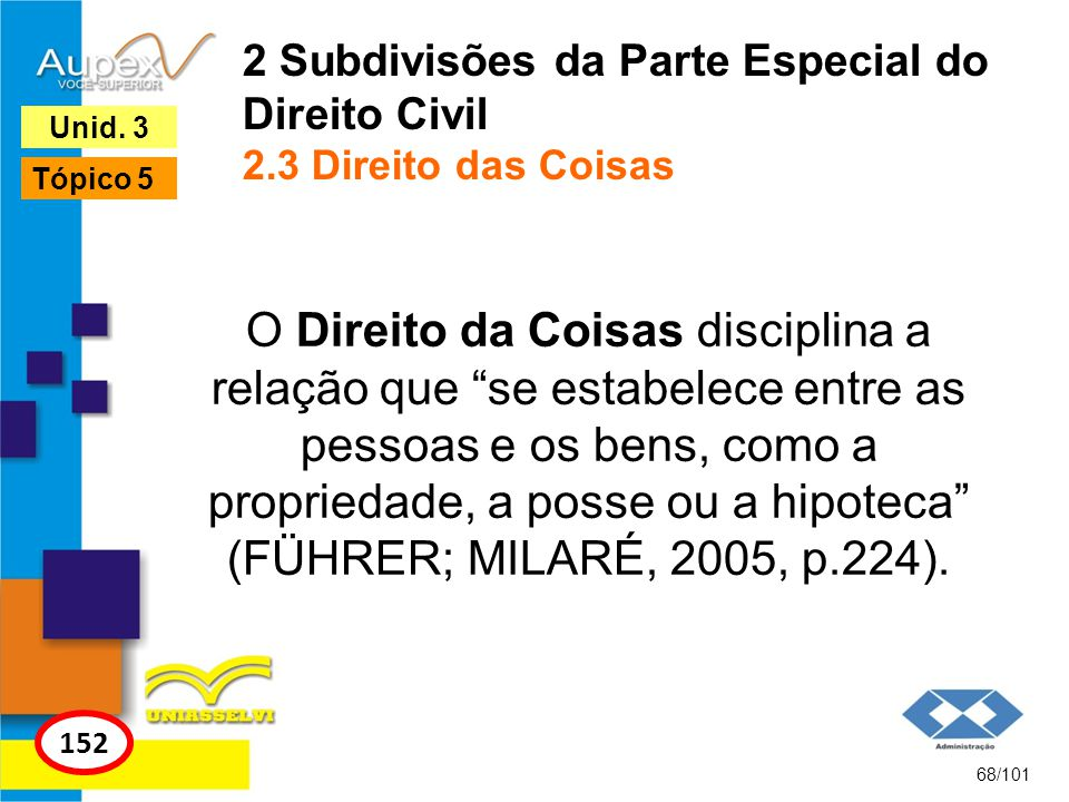 O Direito da Coisas disciplina a relação que se estabelece entre as pessoas e os bens, como a propriedade, a posse ou a hipoteca (FÜHRER; MILARÉ, 2005, p.224).