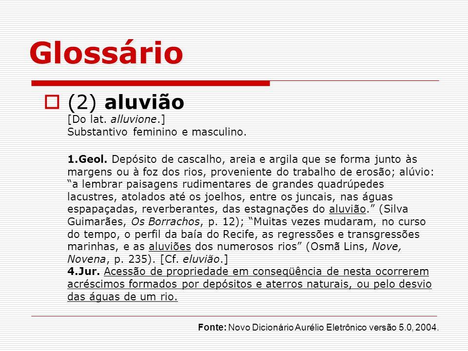 Glossário (2) aluvião [Do lat.alluvione.] Substantivo feminino e masculino.
