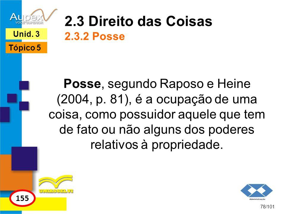 Posse, segundo Raposo e Heine (2004, p.
