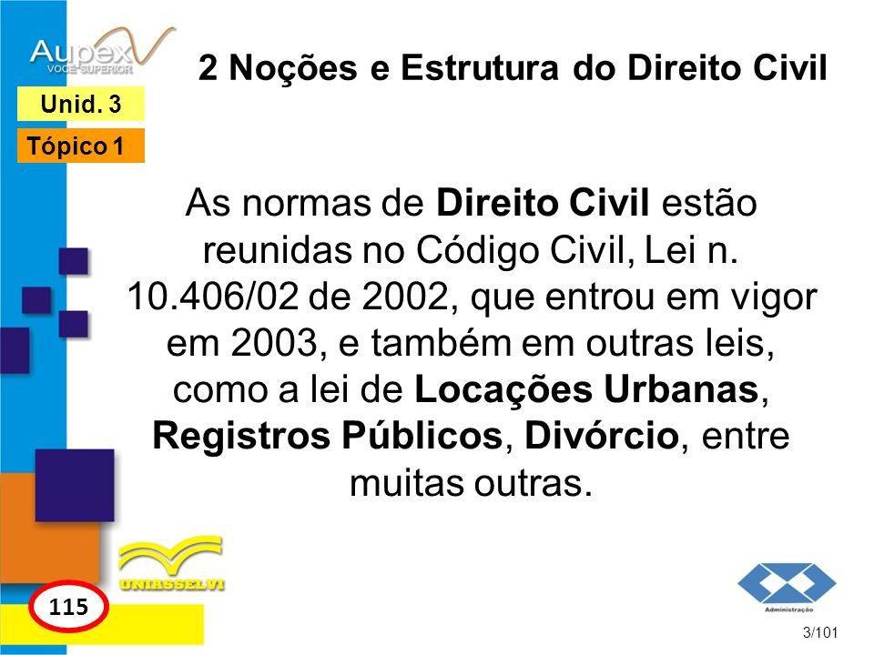 2 Noções e Estrutura do Direito Civil As normas de Direito Civil estão reunidas no Código Civil, Lei n.