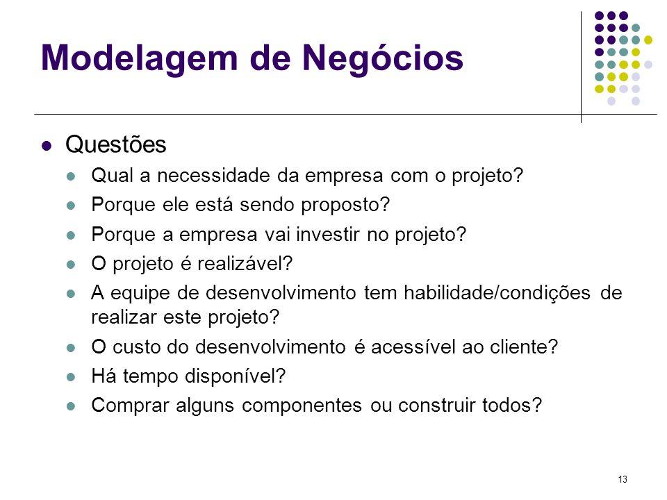 13 Modelagem de Negócios Questões Qual a necessidade da empresa com o projeto? Porque ele está sendo proposto? Porque a empresa vai investir no projet