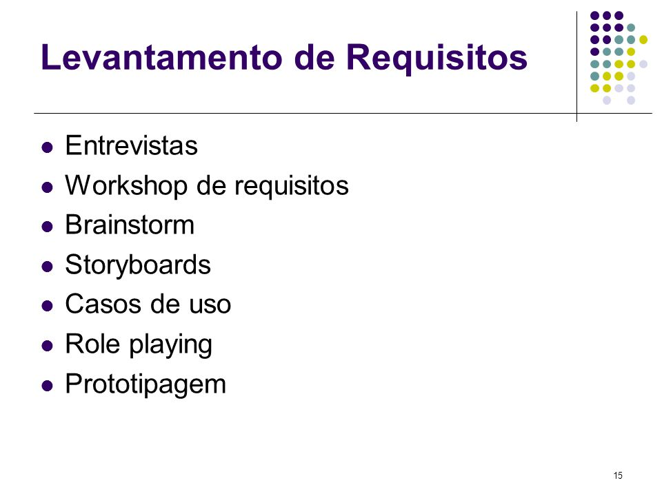 15 Levantamento de Requisitos Entrevistas Workshop de requisitos Brainstorm Storyboards Casos de uso Role playing Prototipagem