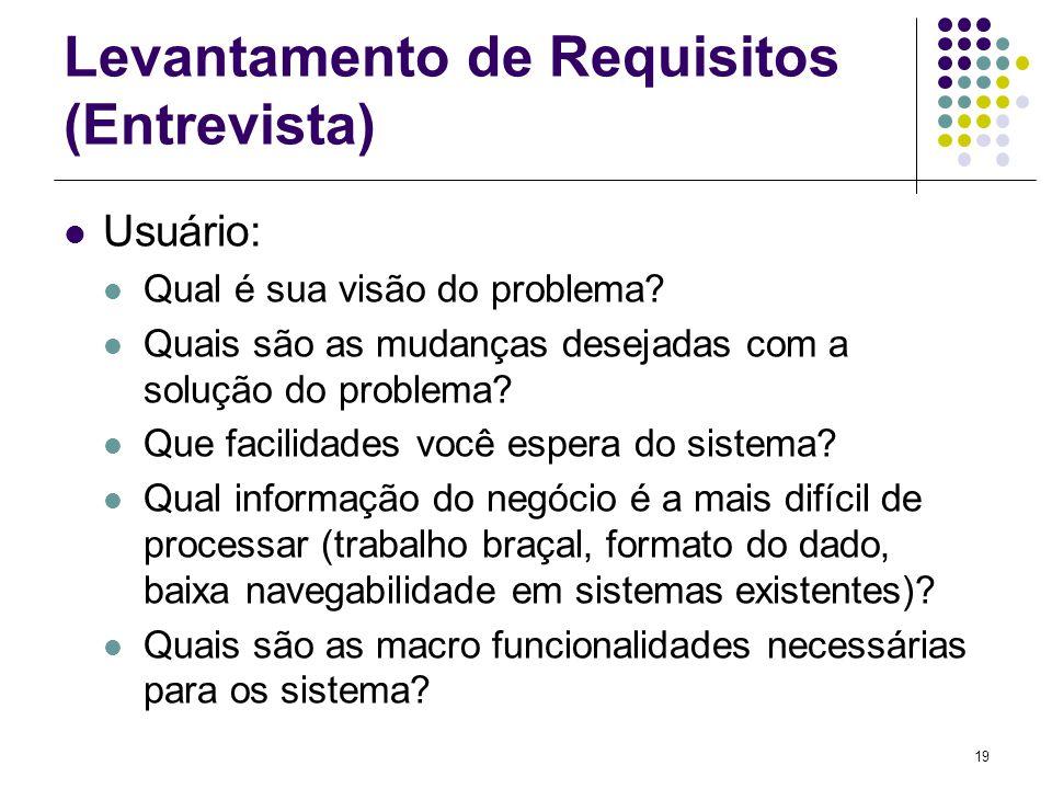 19 Levantamento de Requisitos (Entrevista) Usuário: Qual é sua visão do problema? Quais são as mudanças desejadas com a solução do problema? Que facil