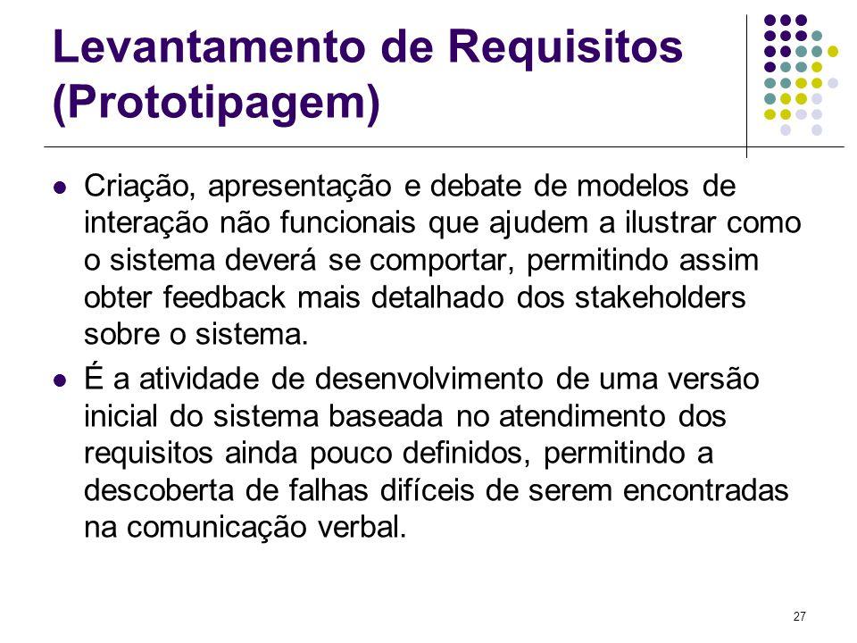 27 Levantamento de Requisitos (Prototipagem) Criação, apresentação e debate de modelos de interação não funcionais que ajudem a ilustrar como o sistem
