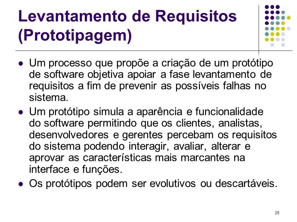 28 Levantamento de Requisitos (Prototipagem) Um processo que propõe a criação de um protótipo de software objetiva apoiar a fase levantamento de requi