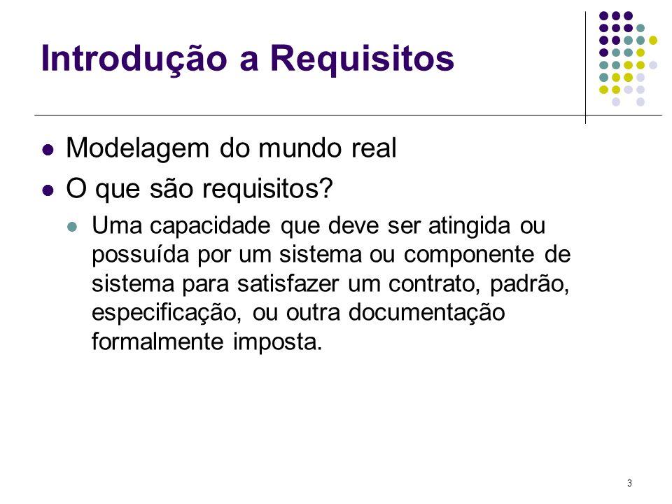 3 Introdução a Requisitos Modelagem do mundo real O que são requisitos? Uma capacidade que deve ser atingida ou possuída por um sistema ou componente