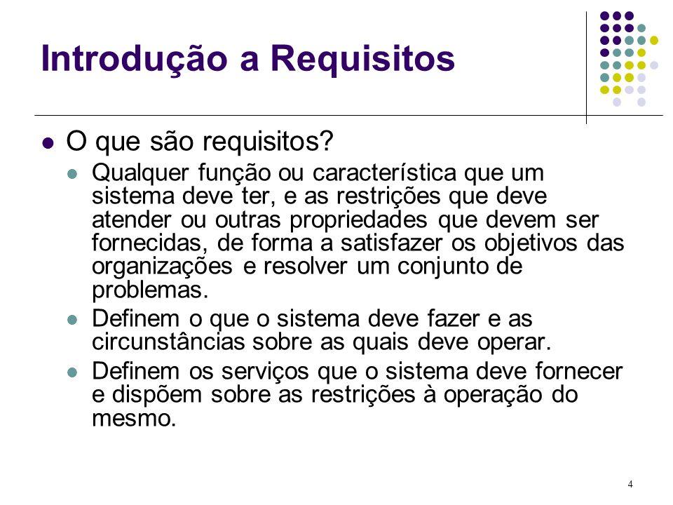 4 Introdução a Requisitos O que são requisitos? Qualquer função ou característica que um sistema deve ter, e as restrições que deve atender ou outras