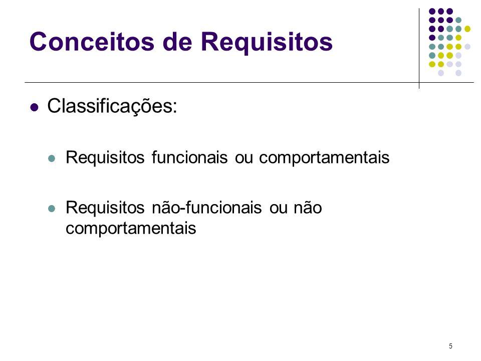 5 Conceitos de Requisitos Classificações: Requisitos funcionais ou comportamentais Requisitos não-funcionais ou não comportamentais