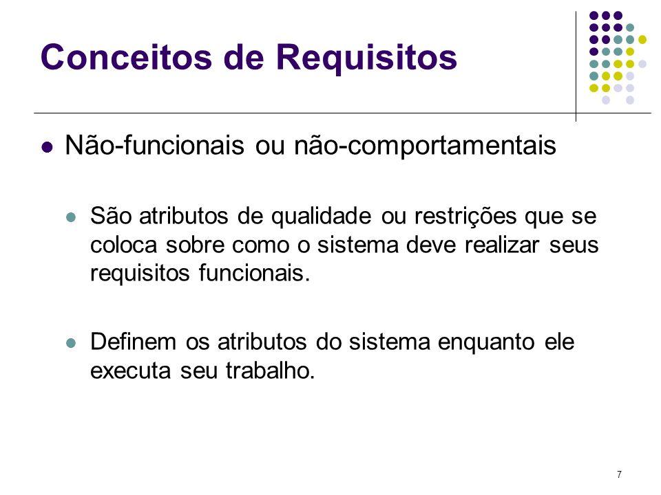 8 Conceitos de Requisitos Não-funcionais ou não-comportamentais Diferentes taxonomias para requisitos não-funcionais têm sido propostas Classifica-os em requisitos de processo relativos à: Entrega Implementação e Conformidade a Padrões Requisitos de Produto (relativos à usabilidade, confiabilidade, segurança, desempenho e capacidade) Requisitos organizacionais (padrões de processo usados) Requisitos Externos (relativos à interoperabilidade, restrições legais e econômicas).