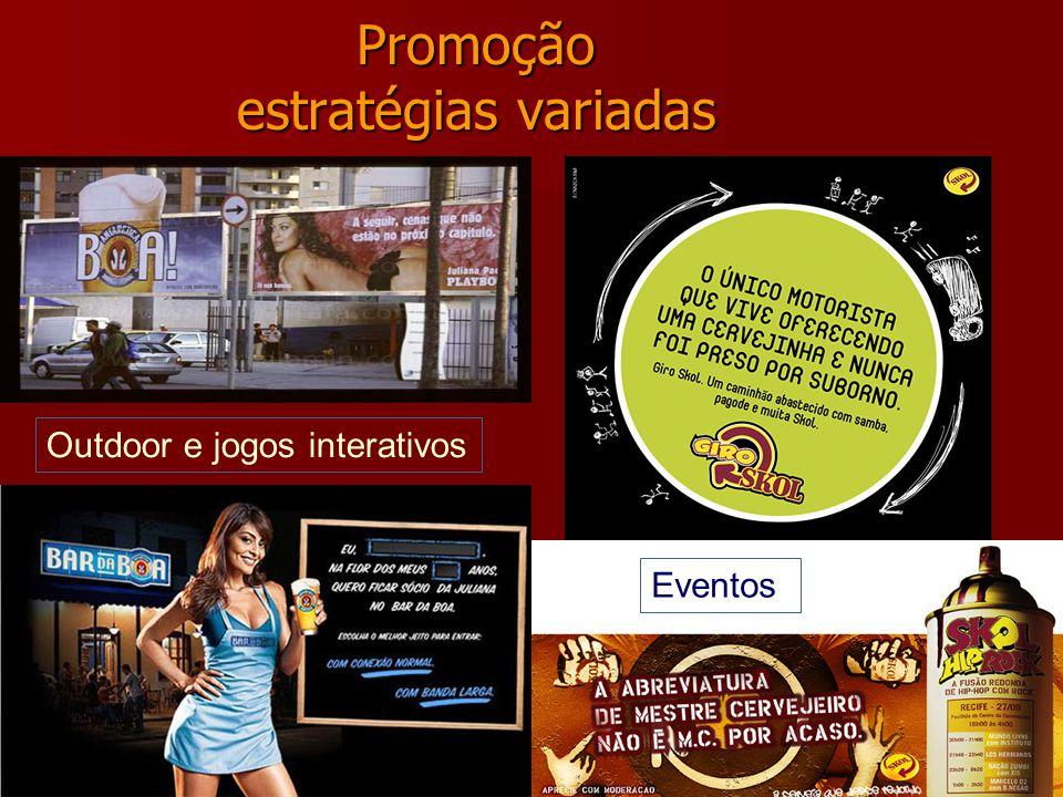 Promoção estratégias variadas Outdoor e jogos interativos Eventos