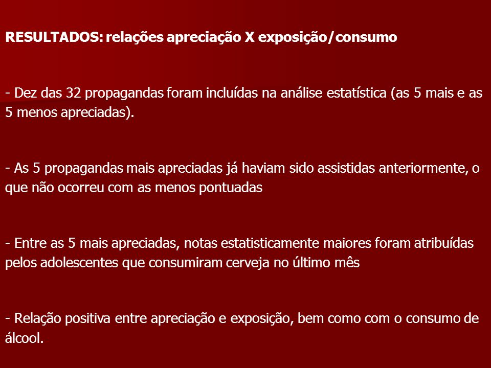 RESULTADOS: relações apreciação X exposição/consumo - Dez das 32 propagandas foram incluídas na análise estatística (as 5 mais e as 5 menos apreciadas